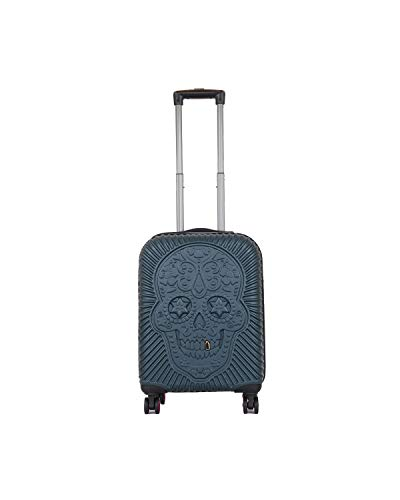 CCS SKULL 8 Wheels Suitcase Travel Luggage Bag Trolley Carry On Hard Shell Lightweight (L (49x78x31cm), Petrol)