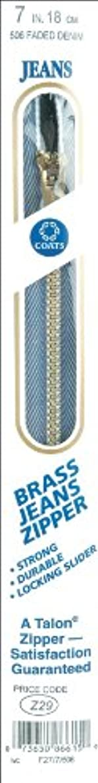 Coats Thread & Zippers F2707-506 Brass Jean Metal Zipper, 7