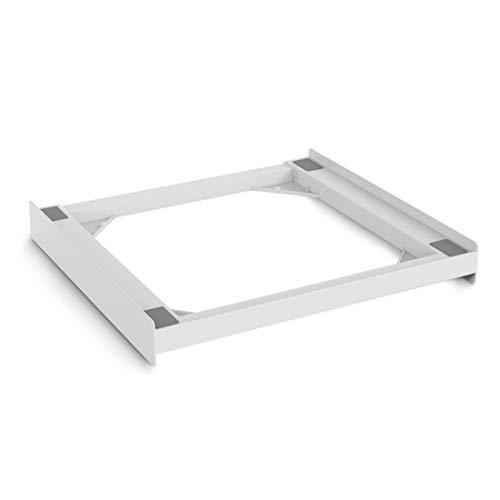 Xavax Zwischenbaurahmen universal (Verbindungsrahmen für Waschmaschine und Trockner, Zwischenbausatz inkl. Zurrgurt) weiß