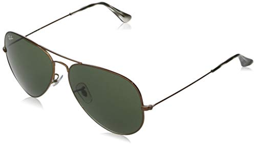 Ray-Ban Unisex Aviator Sunglasses, Brown, 62 mm UK