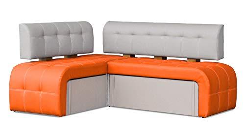 Eckbank Macchiato Essecke Sitzbank Orange Modern Kunstleder inkl. Stauraum