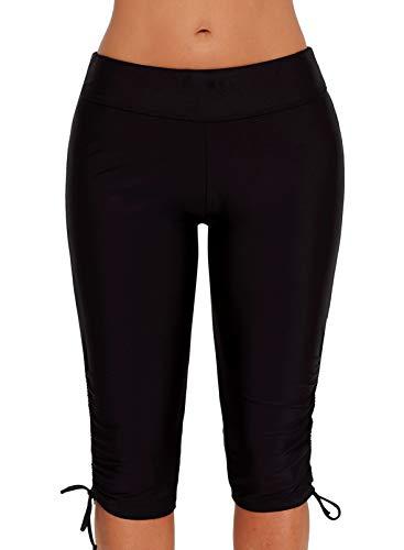 HOTAPEI Womens Colorblock Lace up Swim Shorts Long Boardshorts Swimsuit Bottom Black Large 12 14