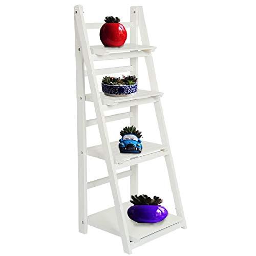 AllRight - Estantería de madera para libros tipo escalera de 3/4 niveles, estantería de almacenamiento para decoración del hogar, estantería de pie, madera, Blanco, 4 Tiers