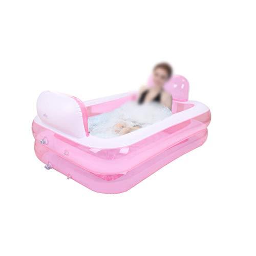 Bañera para niños, para el hogar, plegable, piscina hinchable con cojín, azul y rosa, piscina multifunción, piscina, rosa, 152*108*50cm