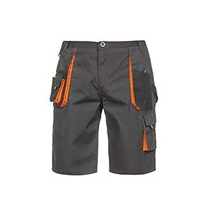 Atlas Pantalones de Trabajo Cortos/Bermudas para Hombre – para Verano – Resistentes – Gris Oscuro/Negro/Naranja