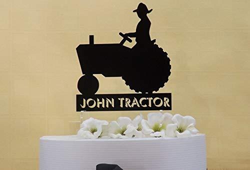 Gepersonaliseerde taart Topper & KeepsakePerfect voor de boeren of trekker liefhebbers bruiloft, Tractor met namen of zin
