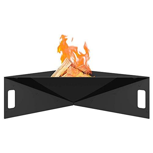 Cuenco de Fuego para jardín Kratki Fire Pyramid, de pie, asimétrico, Triangular, Dimensiones 79 x 68,5 x 22,7 cm, Peso 16,8 kg, de Acero Robusto y Resistente al Calor