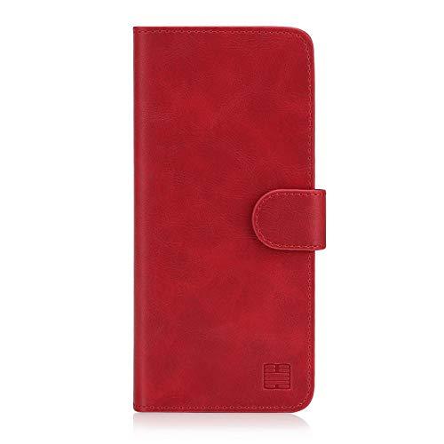 32nd Essential Series - PU Leder Mappen Hülle Flip Hülle Cover für Motorola Moto G7 Power, Ledertasche hüllen mit Magnetverschluss & Kartensteckplatz – Rot