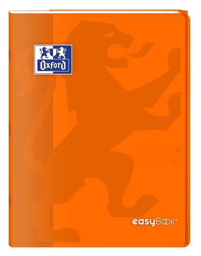 Oxford EasyBook - Cuaderno grapado (24 x 32 cm, 96 páginas, cuadriculado grandes, 90 g, tapa de polipropileno, color naranja con fundas, lote de 40