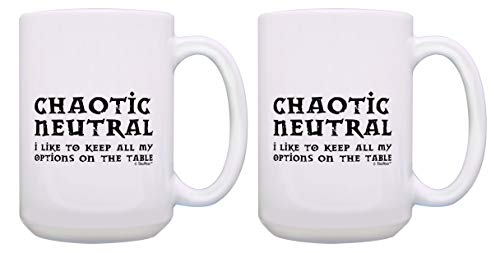 Funny Gamer Mugs Chaotic Neutral Keep All of My Options on the Table 2 Pack 15-oz Mugs Cups White