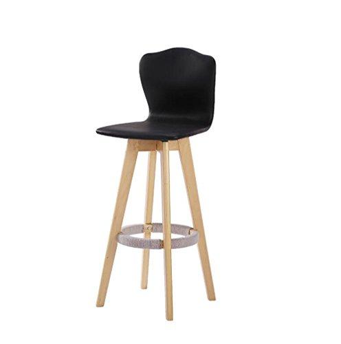 LLSM Taburete de bar de madera simple, silla giratoria de madera de 360 °, taburete de bar Silla alta, taburete alto de 3 colores (Color : Negro, Size : 74cm)