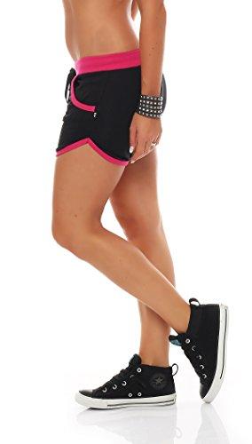 Gennadi Hoppe Damen Hot Pant Hotpants Fitness Shorts,schwarz/pink,XS