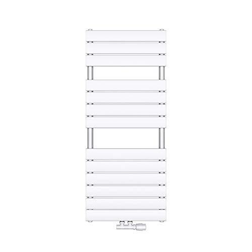 Mai & Mai radiador plano 120x50cm en blanco radiador de panel brillante calientatoallas horizontal fabricado en acero