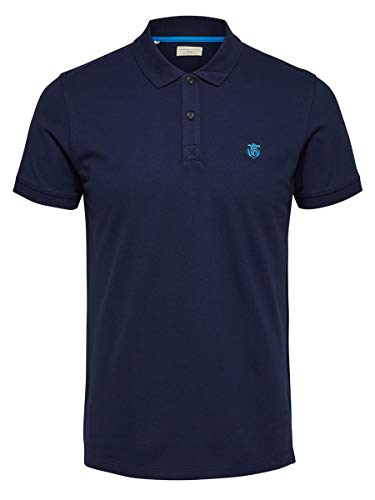 SELECTED HOMME Herren Shdaro Ss Embroidery Polo Noos T-Shirt , Blau (Peacoat) , Large