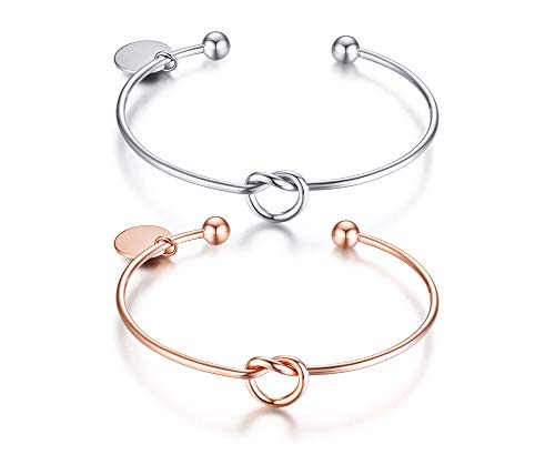 XUANPAI Set of 2 Personalized Friendship Bridesmaid Gift Jewelry Love Knot Bangle Bracelet Cuff Stretch Charm Bracelet,Rose Gold