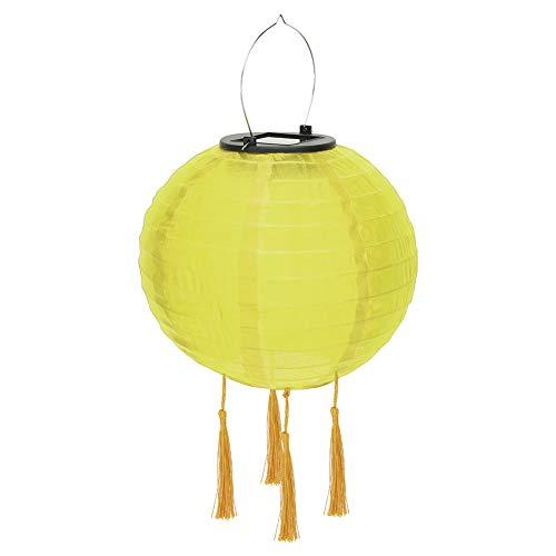 Farolillo LED solar para fiestas, jardín, 25 cm, forma de bola, pantalla redonda con 4 borlas, resistente al agua IP55, para decoración de jardín