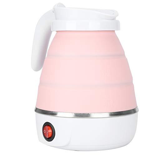 Tetera plegable, hervidor eléctrico plegable, hogar de 600W 0.6 L para camping, viaje, dormitorio(Pink)