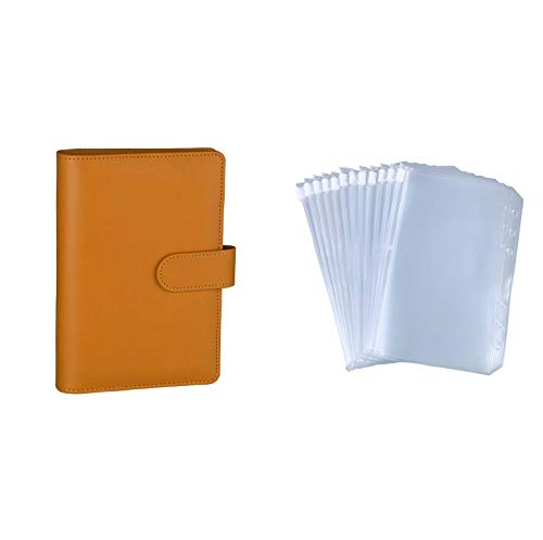 Antner A6 PU Leather Notebook Binder (Dark Yellow) Bundle   12 Pieces A6 Size Binder Pockets