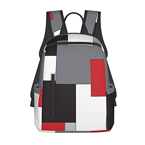 NiYoung School Shoulder Book Bags, Big Capacity Rucksacks for Trekking Travel Running, White,Grey,Black and Red Irregular Geometric Travel Hiking Bag & Day Pack for Men & Women, Back to School