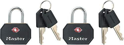 Master Lock 4681EURTBLK Candados de Llave de Metal Macizo TSA, Negro, 32 mm, Set de 2 Piezas