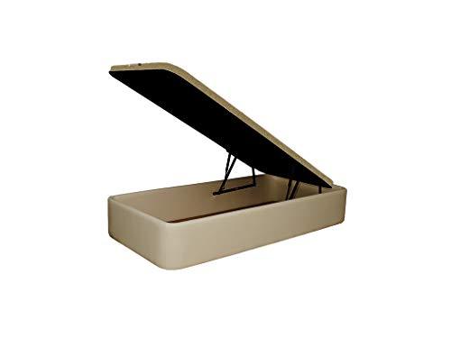 Canapé Tapizado en Polipiel, Acabado de Esquinas Redondas - Cabeceroscamas.com (Beige, 90x190)