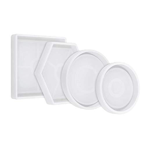 Domilay Juego de 4 posavasos de silicona para molde de resina para moldear con resina, hormigón, cemento