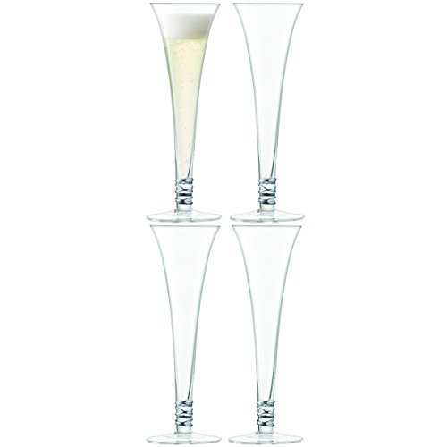 LSA International Prosecco Flûte, Platine, 140 ML, Lot de 4