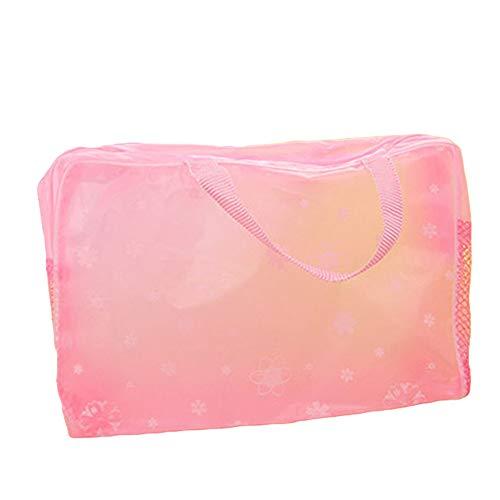 Momangel Bolsa de almacenamiento portátil impermeable transparente para maquillaje de viaje, bolsa de almacenamiento de joyas, organizador de collar y pendientes para mujeres tiendas baratijas y anillos, pvc, rosa