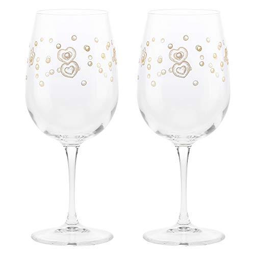 THUN - Set 2 Calici per Vino con Decorazioni Dorate - Natale - Accessori Cucina - Linea Gold Icons - Vetro, Oro 24 K - Ø 8,5 cm
