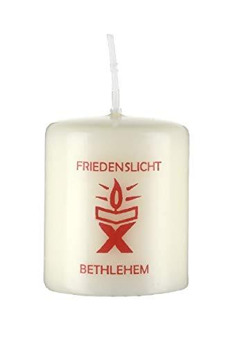Weihnachtskerzen Kerze Friedenslicht aus Bethlehem, weihnachtliche Kirchen Kerze, christliche, Weihnachtsmotiv, 6 x 5 cm