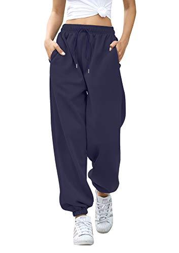 Women Plus Size Sweatpants High Waist Cotton Lounge Trousers Breathable Baggy Athletic Fit Jogger Sweatpants Navy XXL