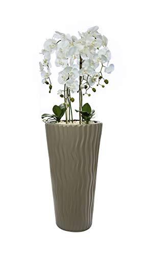 Künstliche Orchideen im Hochübertopf Mocha - Gesamthöhe: ca. 130cm   Stoffblüten   Farbe: Weiß   Gesteck Orchidee Kunstpflanze