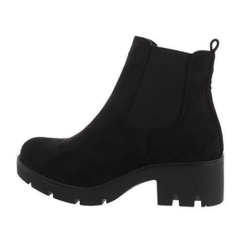 Ital Design Damenschuhe Stiefeletten Chelsea Boots, NC835-, Kunstleder, Schwarz, Gr. 38