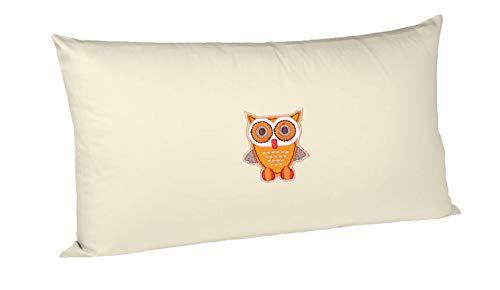 Cuscino di cirmolo - riempito con fiocchi di cirmolo tirolese - a scelta con diversi motivi (20 x 30 cm, beige - con gufo arancione)