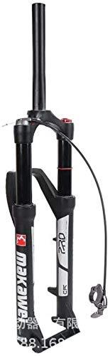 ZHTY Horquilla de suspensión para Bicicleta de Aire MTB 26/27.5/29 Pulgadas Tubo Recto 1-1/8'Bloqueo Manual Remoto Viaje 120 mm Eje de Freno de Disco 9 mm Horquilla de suspensión para Bicicleta QR