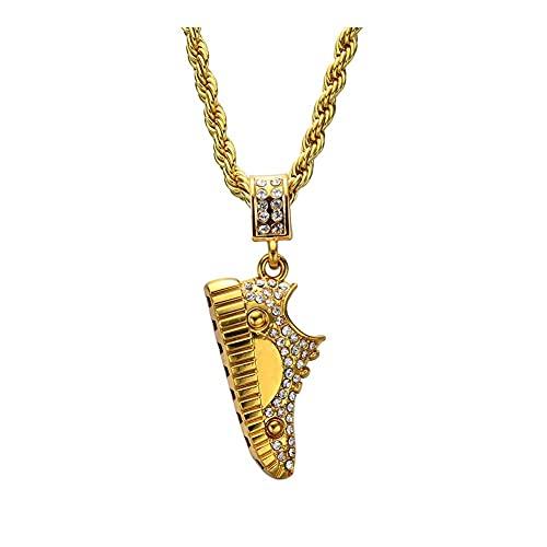 Collar colgante para mujer, cadena de acero inoxidable de 24 pulgadas, cadena de cuerda para hombres y mujeres, collar de zapatos, joyería Bling Bling Girl Collar colgante (Color: 60 cm, tamaño: oro)