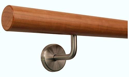 Kirschbaum Handlauf Treppen Geländer Handläufer 30-500 cm aus einem Stück mit Halter Stützen Träger und bearbeiteten Enden