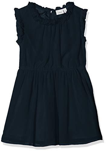 NAME IT Mädchen NMFVILUSI CAPSL DRESS H Kleid, Blau (Dark Sapphire), (Herstellergröße: 104)