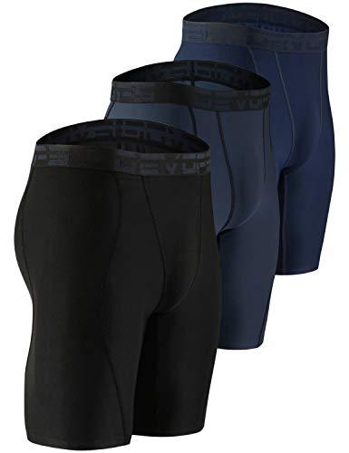 DEVOPS Men's Compression Shorts Underwear (3 Pack) (Medium, Black/Charcoal/Navy)