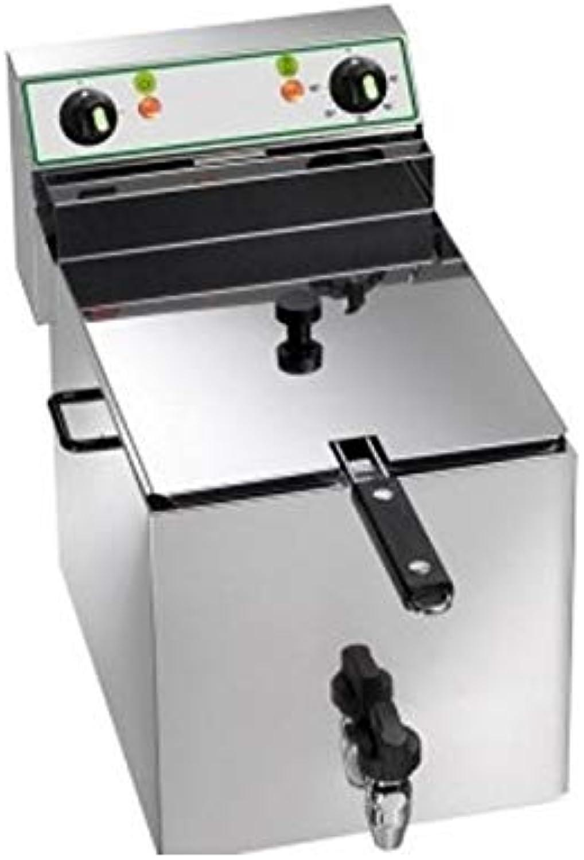 Friggitrice elettrica vasca singola 10 Lt con rubinetto di scarico - 6 Kw.
