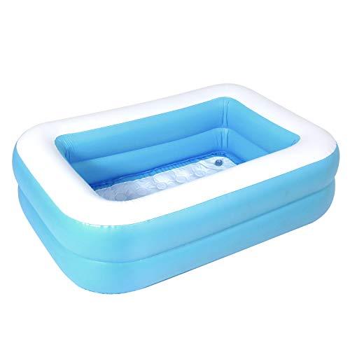 MRG 子供用プール 家庭用 110 × 80 × 30cm 長方形 ビニールプール 子供 プール 深い ベランダ おもちゃ (ブルー/プール単品)