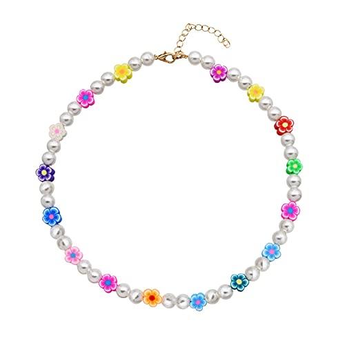 XIAOTIAN Collana di Perle Smile, Girocollo Y2k Fatto A Mano con Perline Arcobaleno, Collana A Catena Multistrato Regolabile per Donne E Ragazze