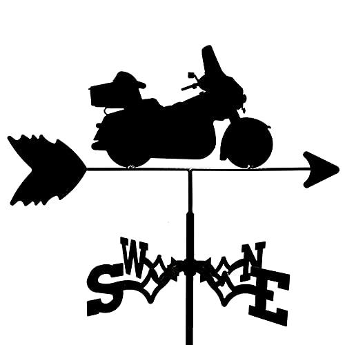 Retro metal weathervane, granja de motocicletas estaca de jardín de la granja de la paleta de la dirección del viento Indicador de la dirección del viento de la herramienta de medición del exterior de