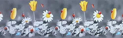 Tappeto Cucina Antiscivolo Lavabile in Vinile   Passatoia Antimacchia in PVC Interni ed Esterni Stampa Digitale Coccinella e Fiori   Retro in gomma  100% Poliestere (52 X 250)