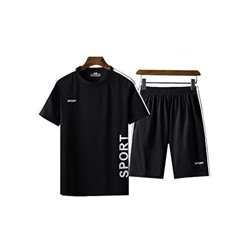 Lilongjiao Herren Sportanzüge Sommer Schnell trocknende Trainingsbekleidung Laufsportbekleidung Zweiteilige Anzüge (Color : Black, Size : XXXXXL)