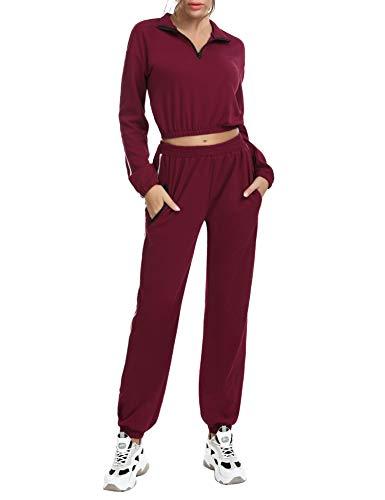 Akalnny Abbigliamento Sportivo da Donna/Crop Felpa e Pantaloni Set da 2 Pezzi Palestra o per Yoga(Vino Rosso, L)