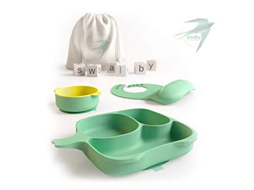 Swalby Kinderteller mit Saugnapf - Baby Geschirrset Rutschfest - Baby Teller Schüssel - Lätzchen mit Auffangschale - aus Silikon - Baumwolle Transportbeutel [Entscheide dich für Qualität]