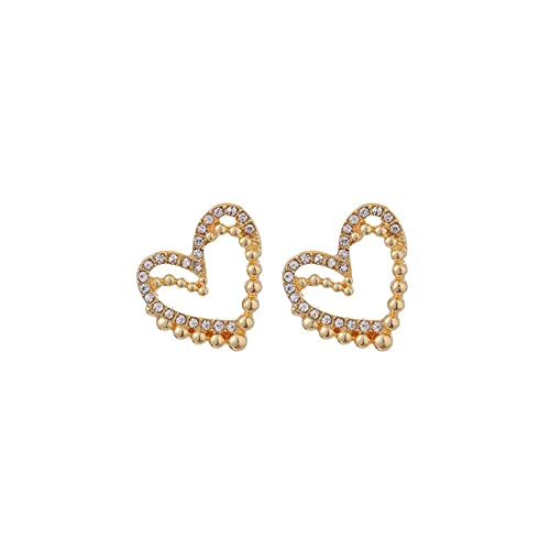 1 pieza de pendientes para niñas de doble capa, con forma de corazón dulce y circonita