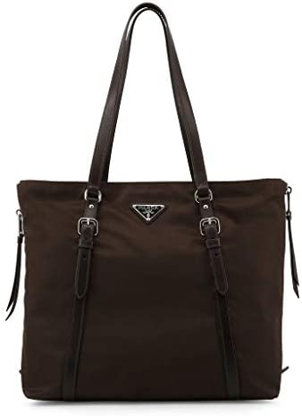 Prada Brown Tessuto Nylon Soft Calf Leather Trim Shopping Tote Handbag 1BG228 product image