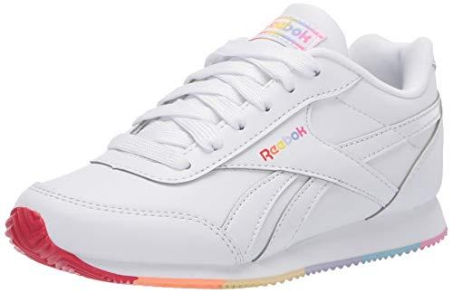 Reebok Girls Royal Cljog 2 Sneaker, White/Radiant Red/Sunbaked Orange, 3 M US Little Kid